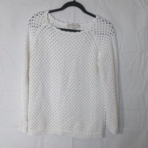 LOFT White Scalloped Neck Sweater, Sz LP Petite